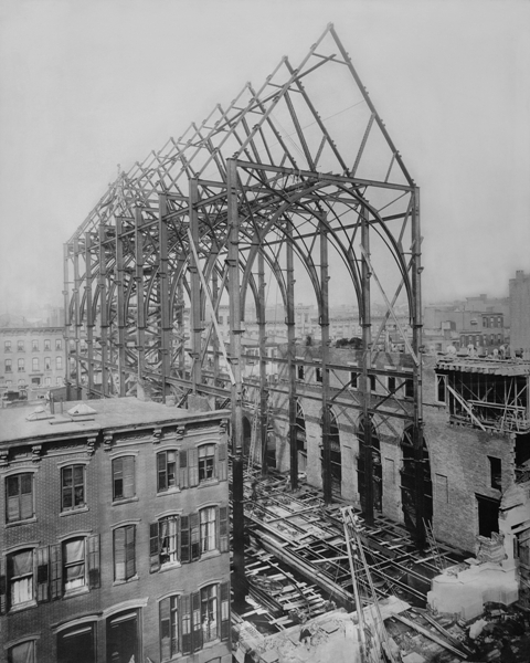 The construction of Saint Mary's on 46th Street in 1895