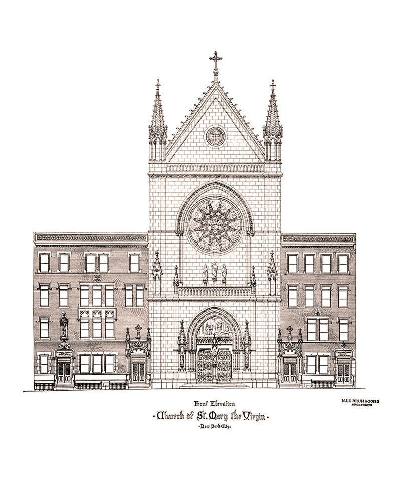 An architect's concept of the present Church of Saint Mary the Virgin.