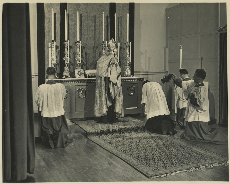 Benediction of the Blessed Sacrament in Saint Joseph's Hall in the 1940s