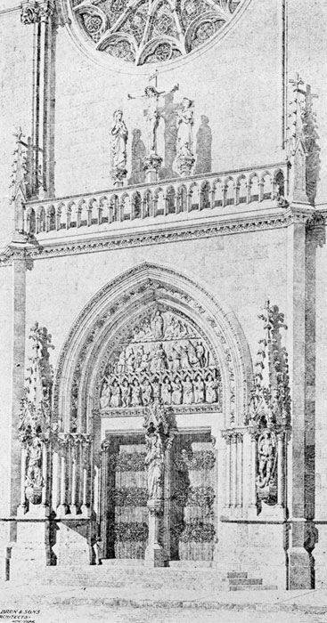 An artist's rendering of the main doors of Saint Mary's