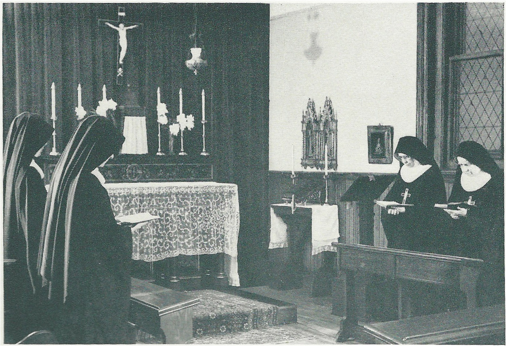 Members of the Sisterhood of the Holy Nativity worshiping in the SHN Chapel on the 4th floor of the Mission House in the 1950s.  The SHN Sisters lived and worked at Saint Mary's from 1909 to 1965.