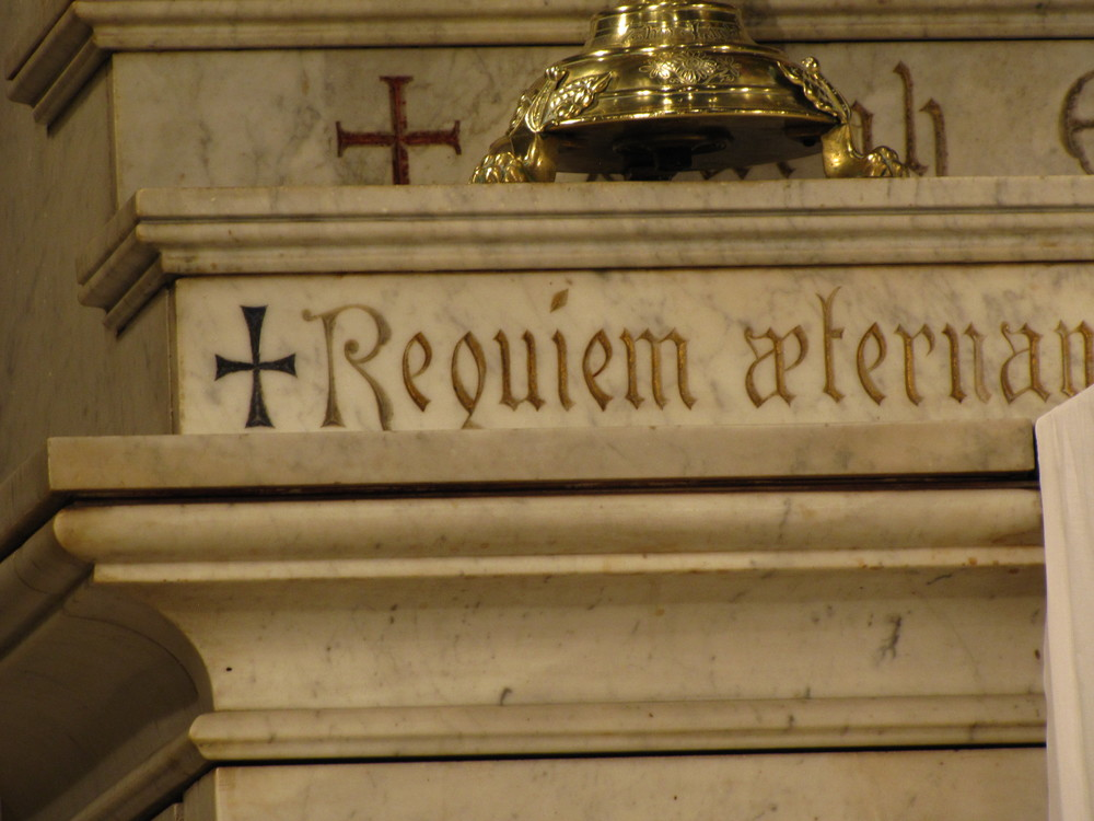 Memorial inscription on the High Altar at Saint Mary's