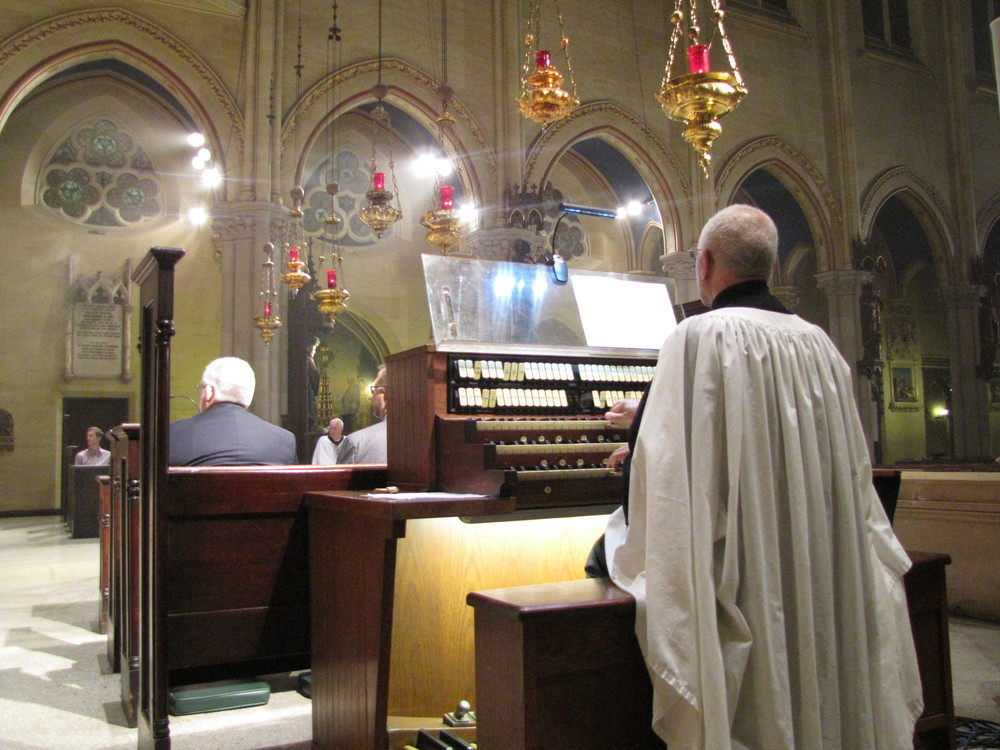 Dr. David Hurd at the console organ