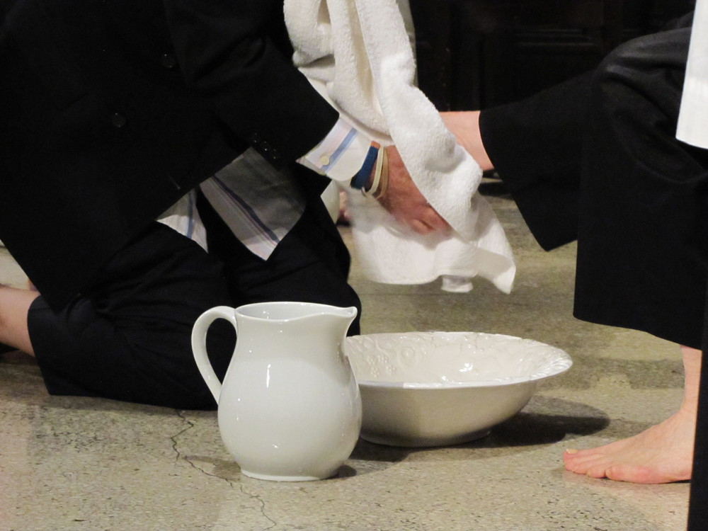 The washing of feet on Maundy Thursday