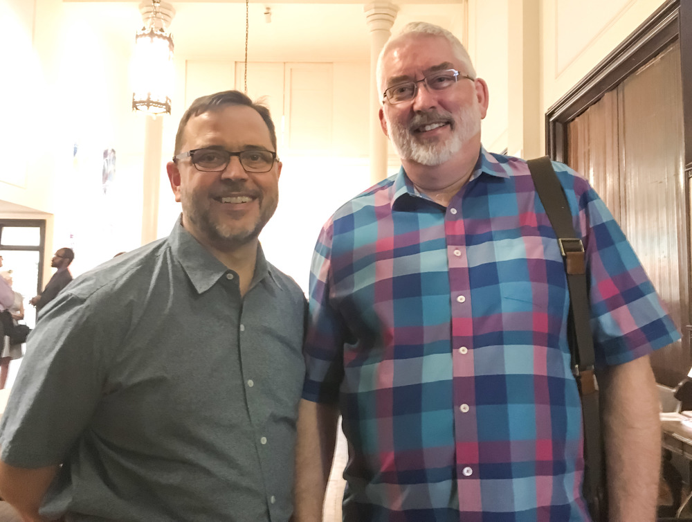 Zach Roesemann and Clark Anderson after church on Sunday, June 12
