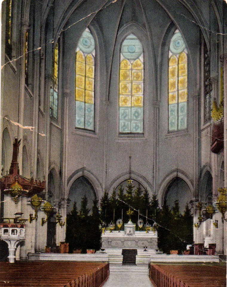 A postcard of the Nave at Christmas in 1900