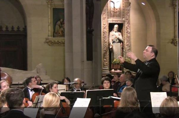 David Leibowitz conducting the New York Repertory Orchestra at Saint Mary's