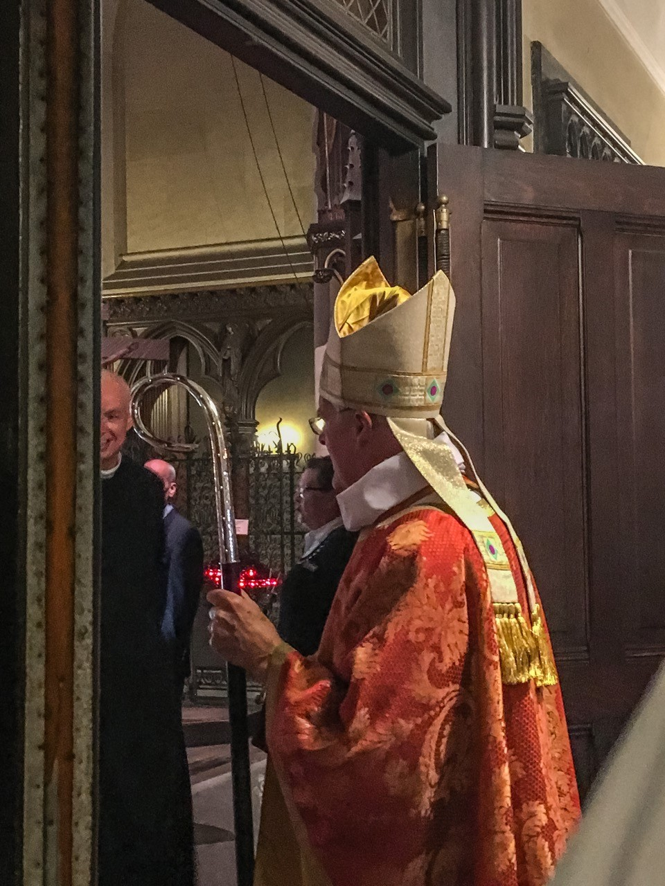 Bishop Griswold prepares to greet the congregation after the Mass