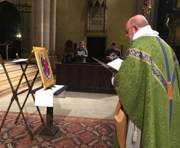 Blessing of an Icon of the Assumption by Zachary Roesemann at Mass on Wednesday, November 9, 2016