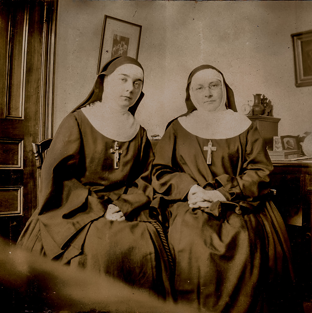 Sister Mary Maud (L) and Sister Mary Angela of the Sisters of the Order of the Visitation of the Blessed Virgin Mary at Saint Mary's in the 1880s.  Their Community was founded by the Reverend Thomas McKee Brown, and they lived and worked at Saint Mary's in the 1880s and 1890s.  They ran a day school in the Mission House, among other ministries.