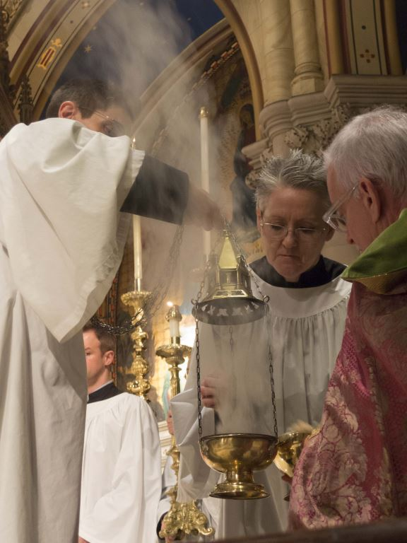 Incense being prepared at Solemn Evensong