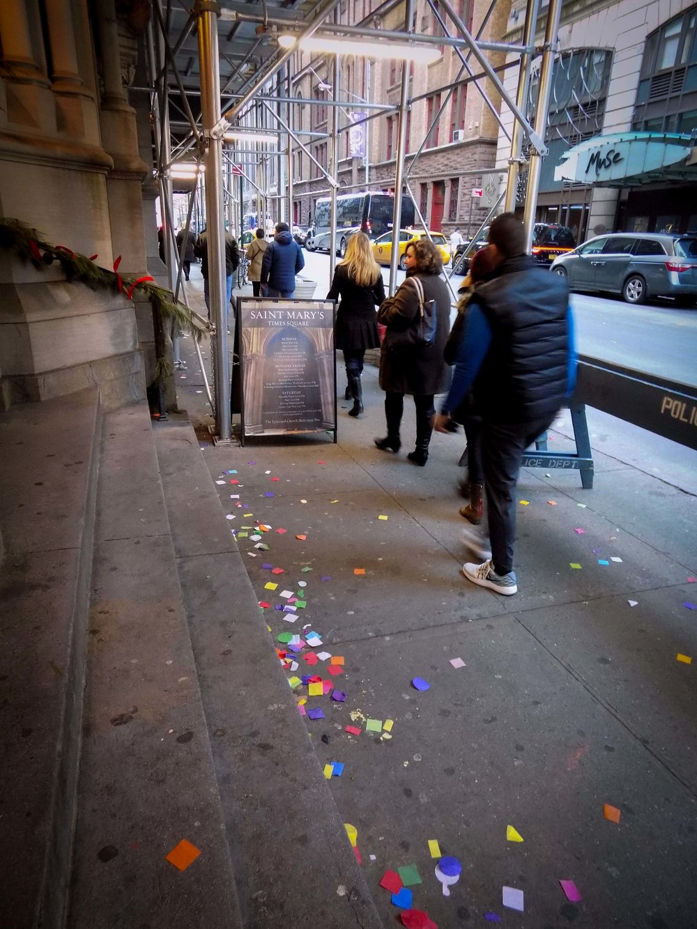 Confetti will continue to wash down during rainstorms until the fall.