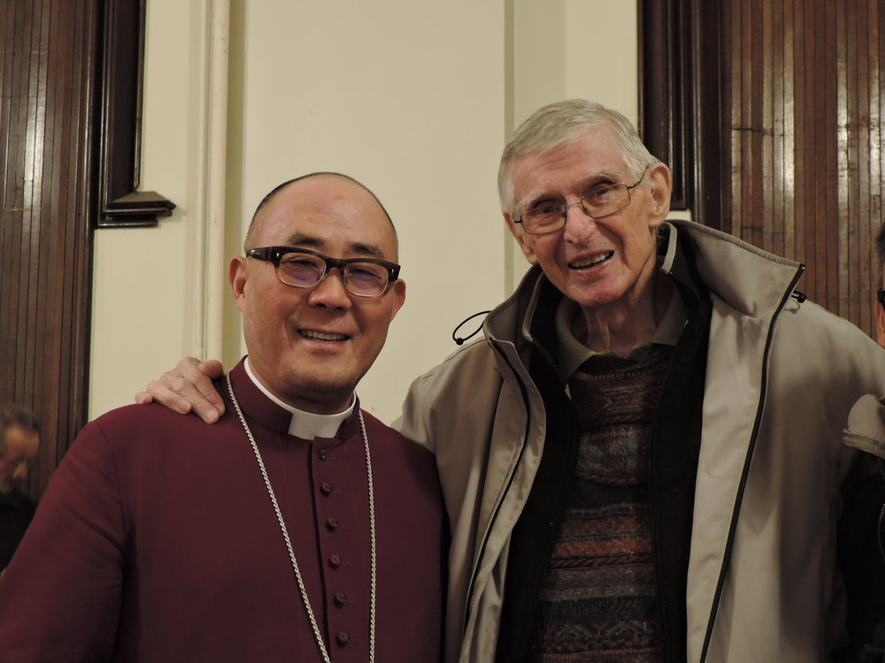Bishop Shin and Father Edgar Wells, rector emeritus of Saint Mary's