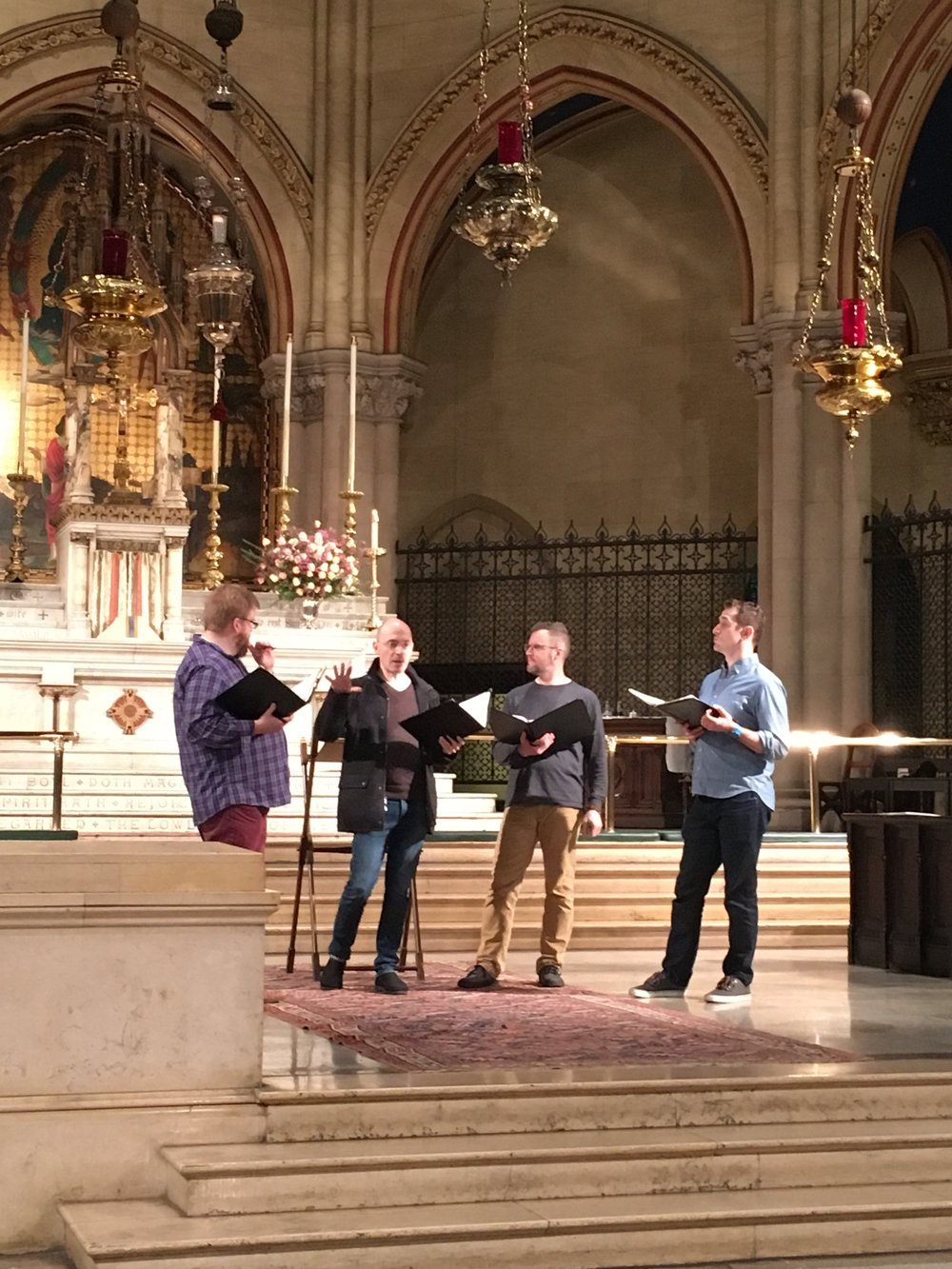 New York Polyphony rehearsing on Friday, January 13. They will give a concert here on January 21.