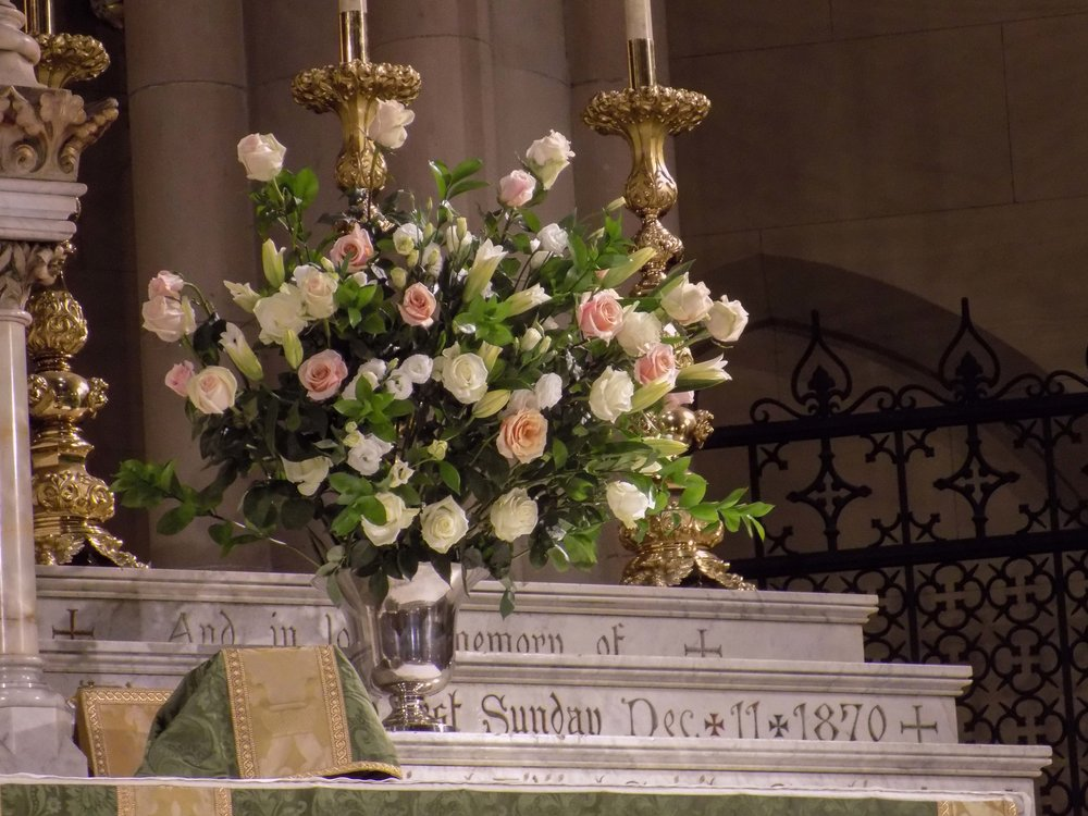 The high altar flowers on Sunday.