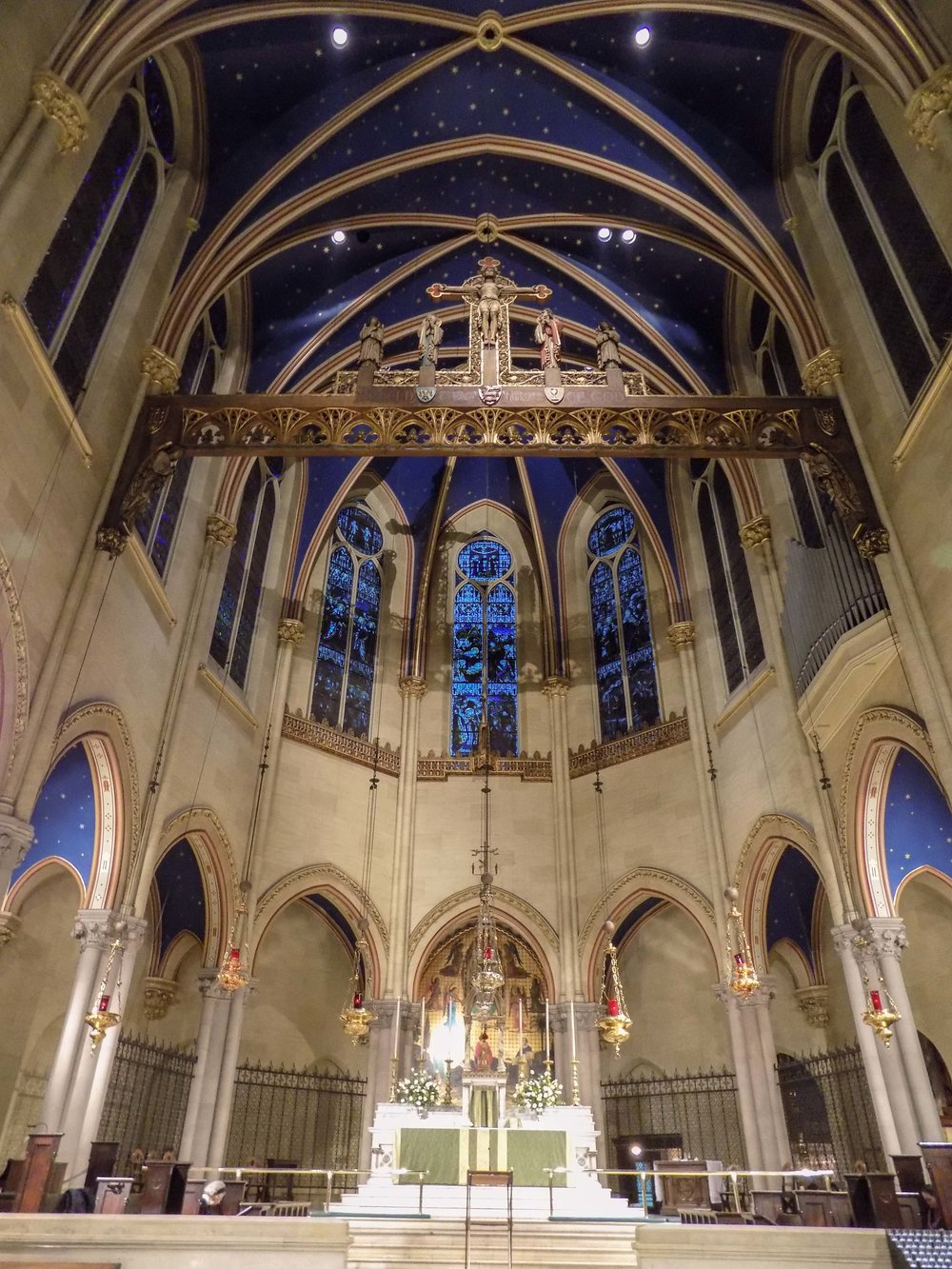 A view of the high altar and rood screen.