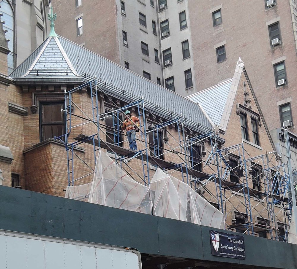 The work on the Rectory roof, the 47th Street Entrance, and the Lady Chapel is complete. The scaffolding begins to come down on Friday, February 3.