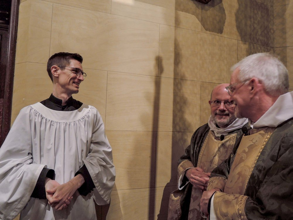 Brendon Hunter, Father Smith, and Father Pace before the Solemn Mass.