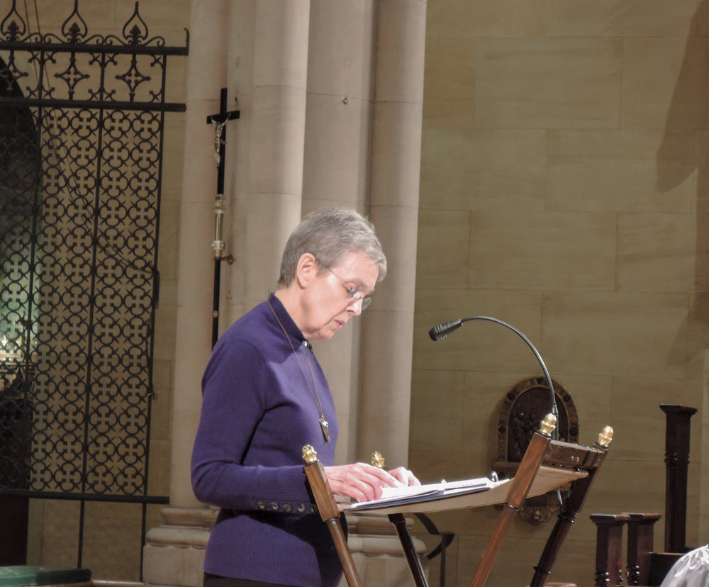 MaryJane Boland was lector at Sunday Evensong.