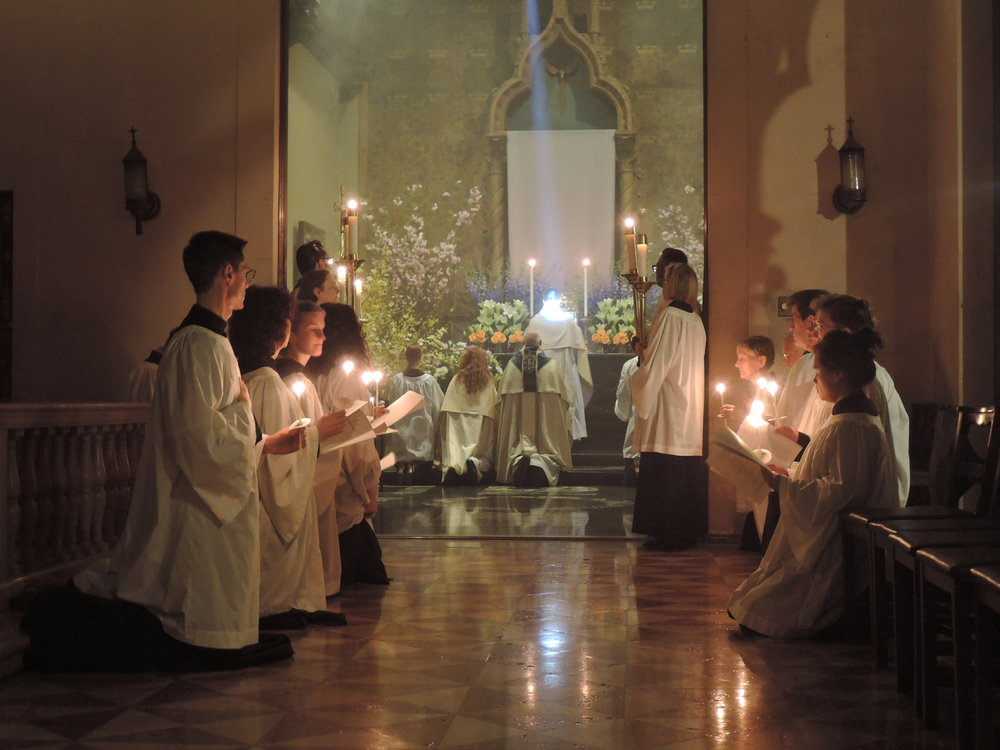 The choir in Saint Joseph's Chapel, looking into the Altar of Repose in The Chapel of Our Lady of Mercy on Maundy Thursday