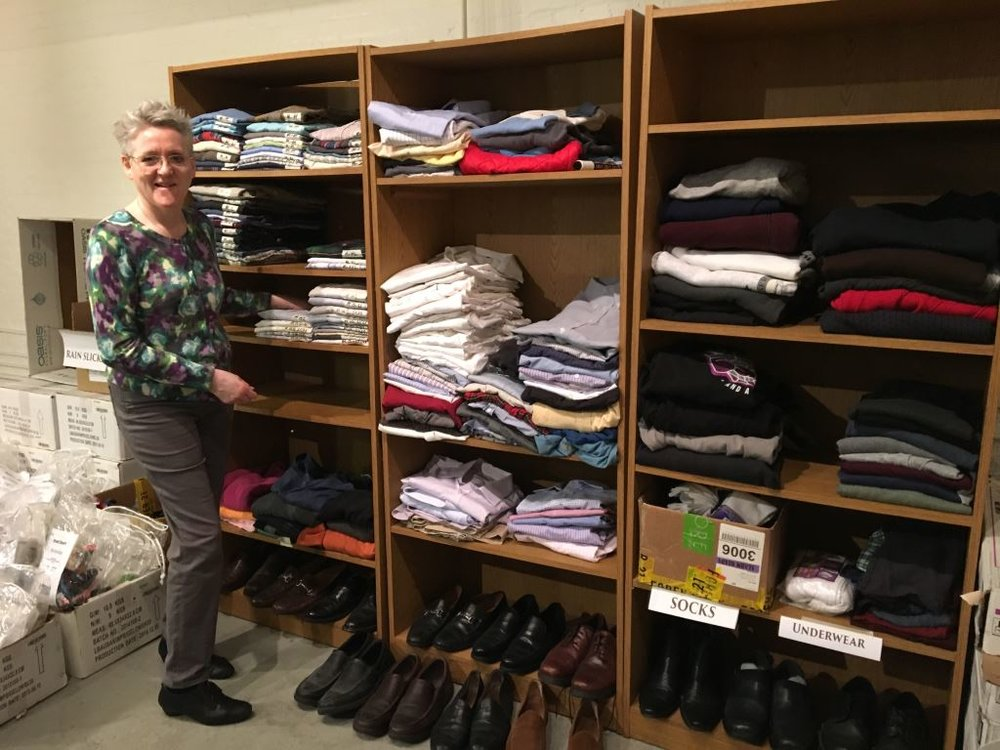 Marie Rosseels is part of our clothes ministry team.