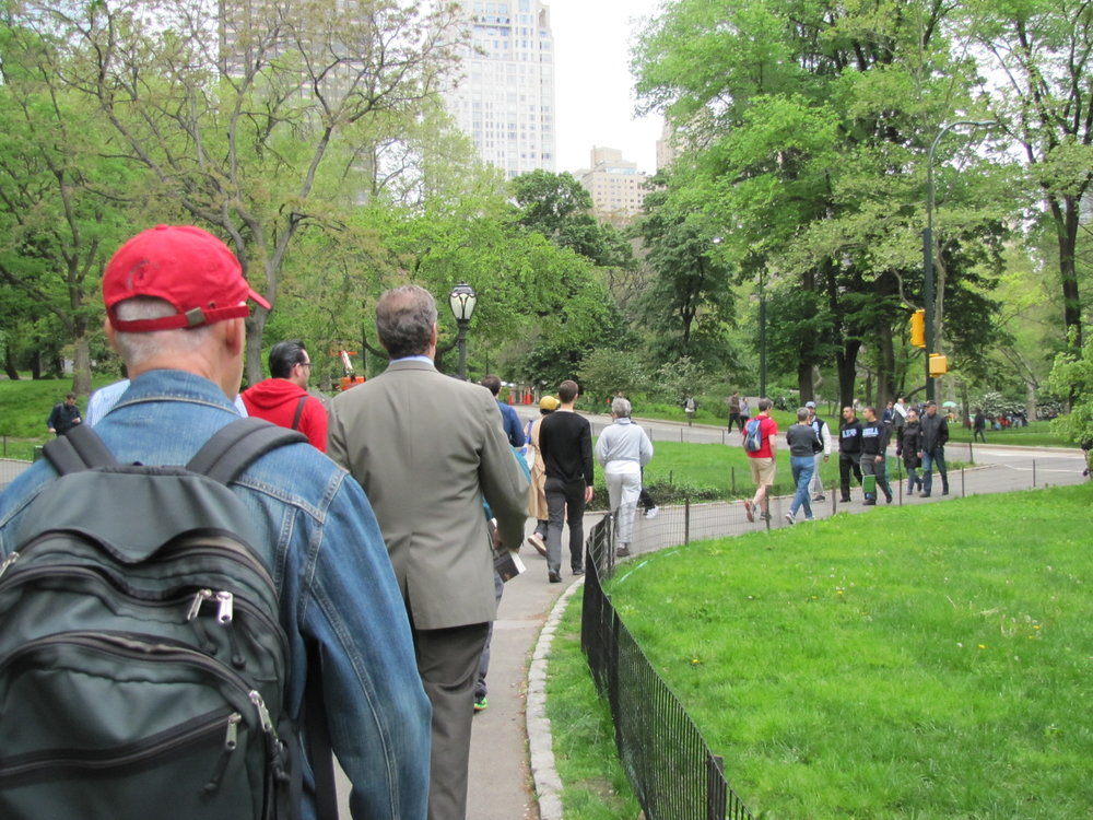 The Saint Mary's AIDS Walk team walking through Central Park last year