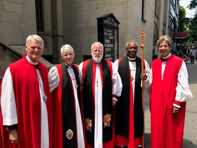 (L. to R.) The Most Reverend Frank T. Griswold, The Rt. Reverend Mary Glasspool, The Rt. Reverend Andrew M. L. Dietsche, The Most Reverend Michael Curry and The Most Reverend Katharine Jefferts Schori after the funeral of the Reverend Canon Carlson Gerdau