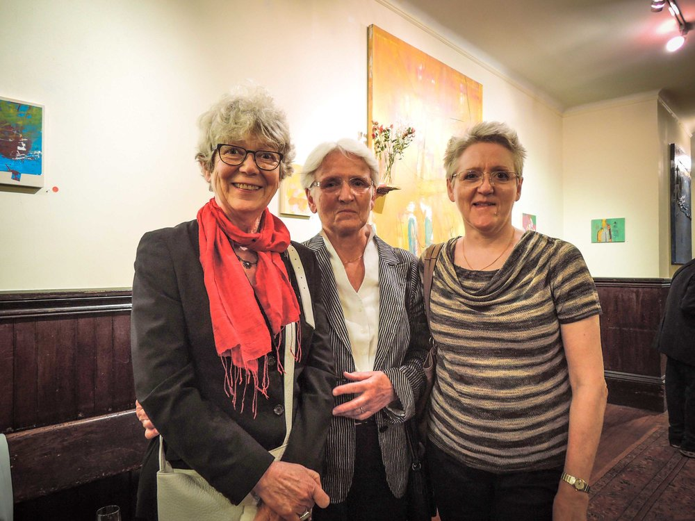 Lut Verhaeghe (L.) and Marie Rosseels's sister Bertha (center) visited Marie Rosseels (R.) from Belgium this week.