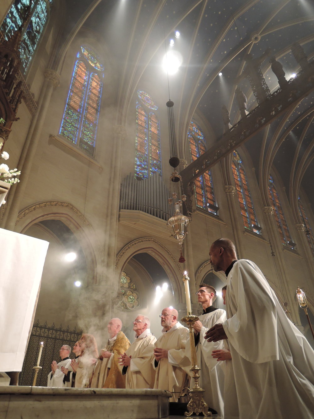 Incense is offered before the Eucharistic blessing is given.
