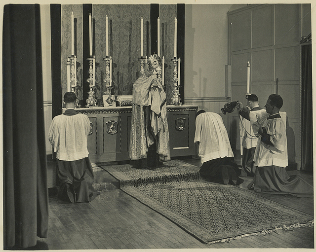 Eucharistic Benediction at Saint Francis Altar (formerly in Saint Joseph's Hall) in 1951