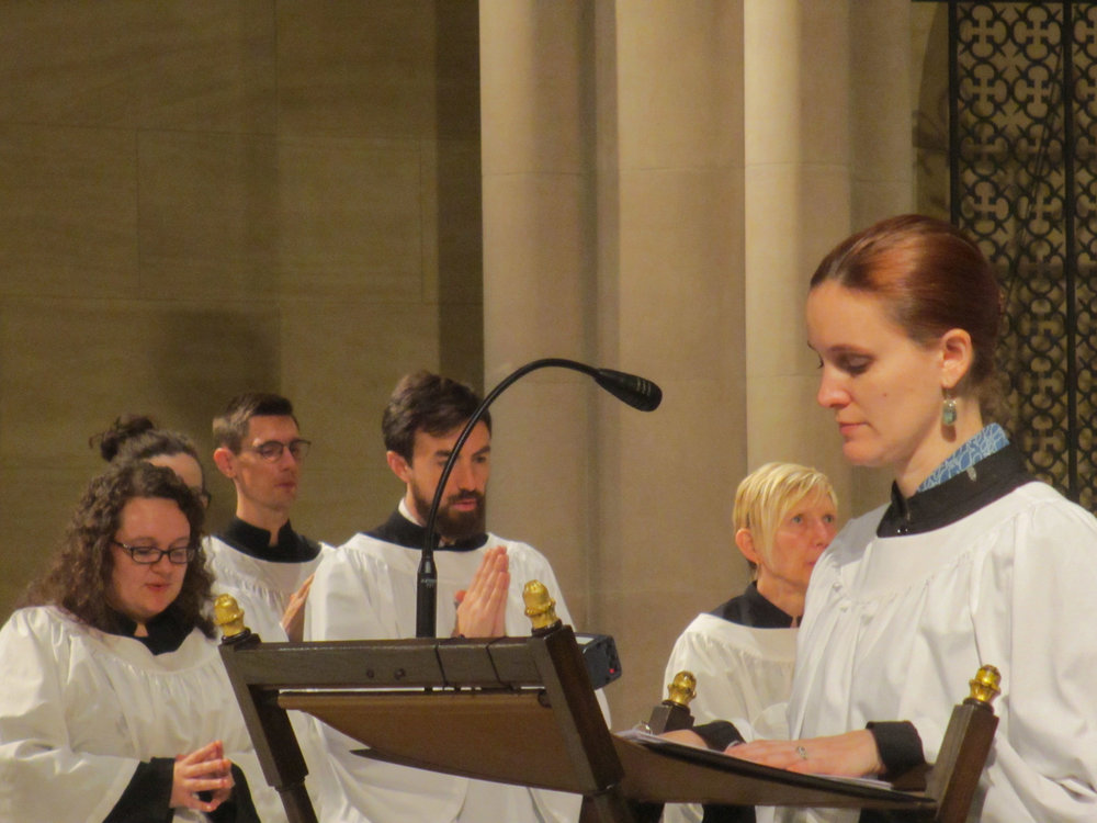 Server Grace Mudd sang the Prayers of the People as our deacons were both away from the parish.