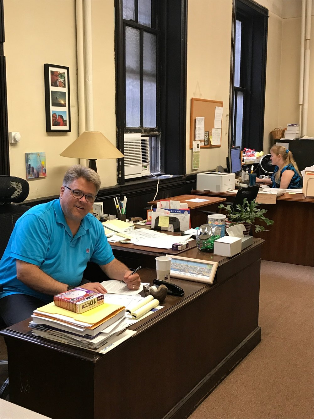Office Manager Chris Howatt and Bookkeeper Kristie Raynorhard at work