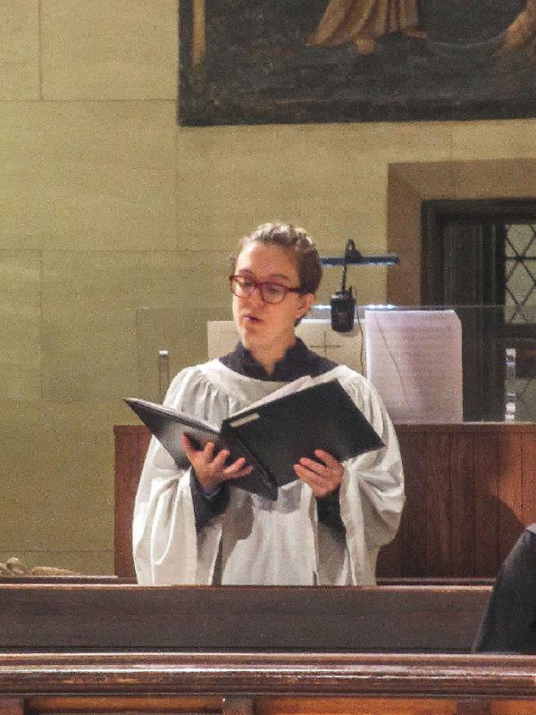 Cantor Martha Cargo chants the minor propers at the Solemn Mass.