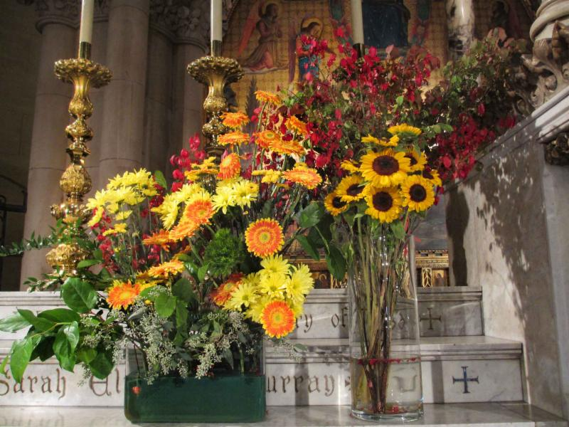 Autumnal flowers on the High Altar Arrangement by Rick Austill