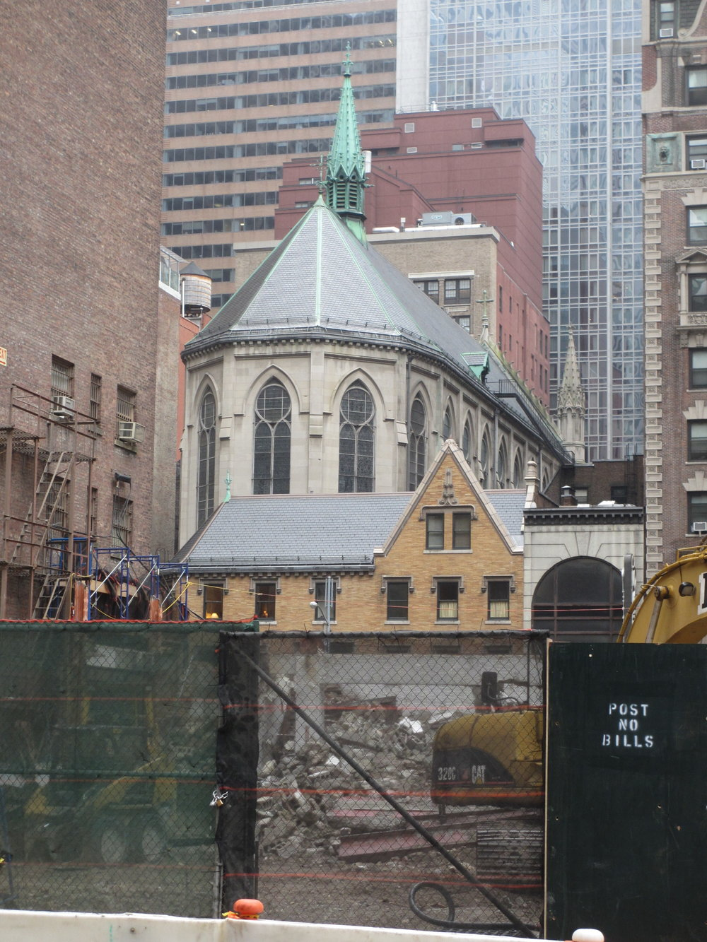 Saint Mary's viewed from West 48th Street. There will be another hotel across the street from the rectory with entrances on 47th and 48 Streets.