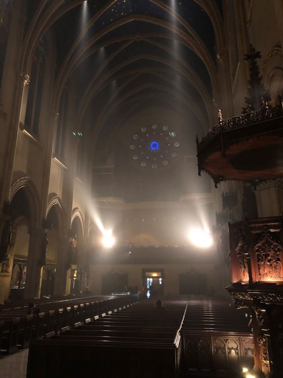 The gallery lights are turned on as the church is prepared for Evening Prayer and the Sunday Vigil Mass on the Eve of the First Sunday of Advent. Photo by Zachary Roesemann