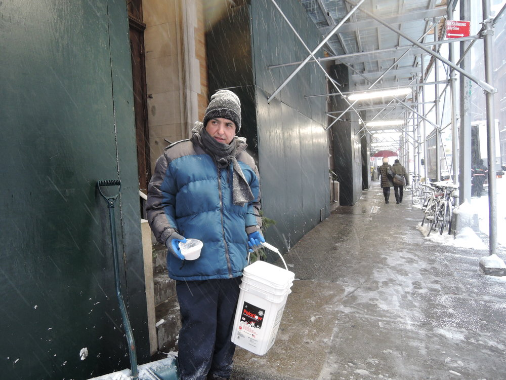Sexton Jorge Trujillo cleared the sidewalks on 46th and 47th Streets before the end of the day. A big job done well! Photo by Sr. Monica Clare, C.S.J.B.