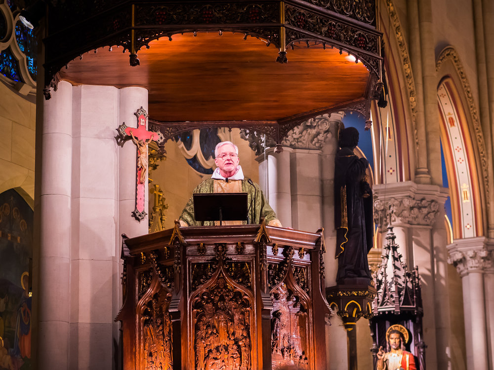 Father Jim Pace was celebrant and preacher for the Solemn Mass on Sunday, January 14. Photo by Ricardo Gomez
