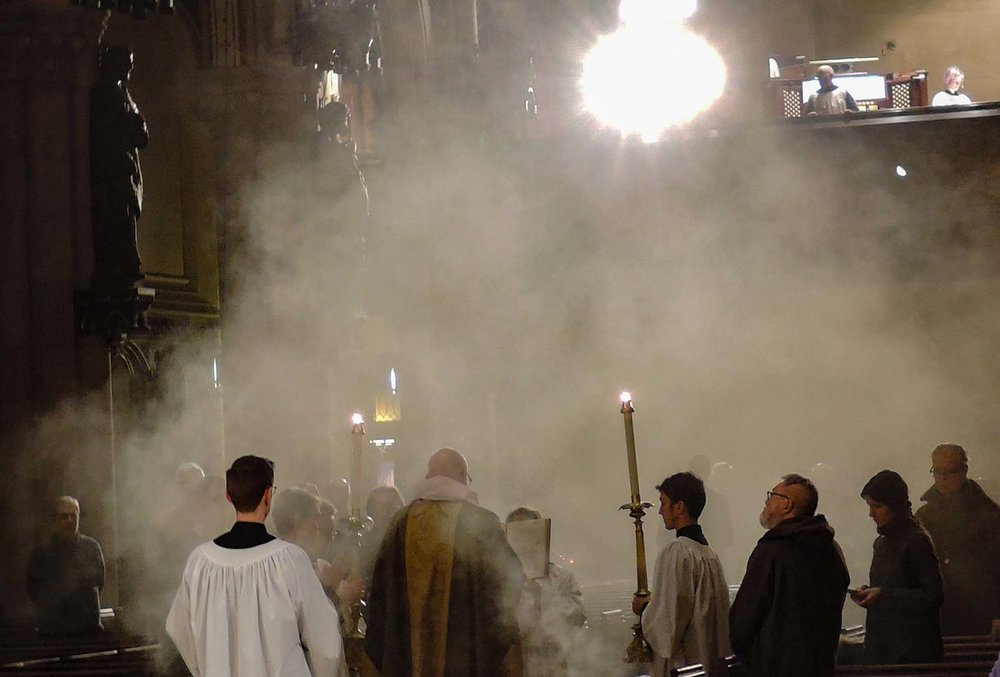During the proclamation of the gospel. Photo by Sr. Monica Clare, C.S.J.B.
