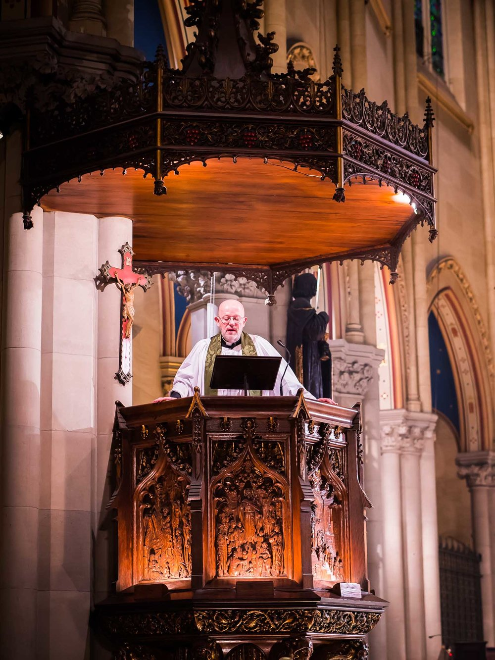 Father Smith was preacher for the Solemn Mass.    Photo by Ricardo Gomez