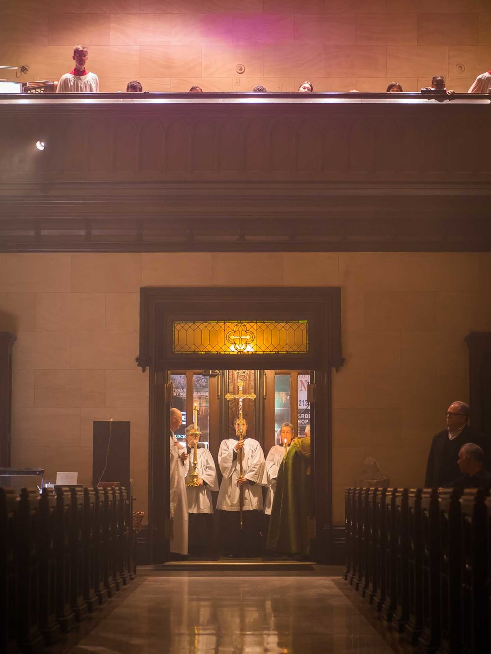 "After Evensong, the clergy and servers pause for one final prayer: Officiant, ""May the Divine assistance remain with us always."" Response: ""And with those who are absent from us. Amen.""   Photo by Ricardo Gomez"