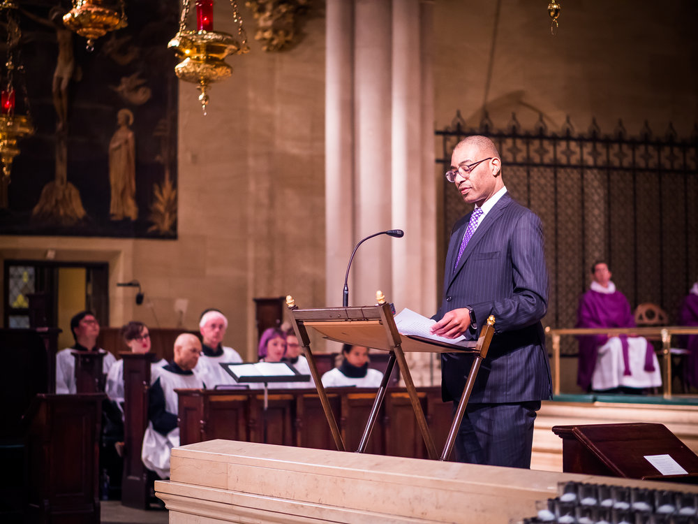 Dr. Charles Morgan read the lessons at the Solemn Mass on Sunday.   Photo by Ricardo Gomez