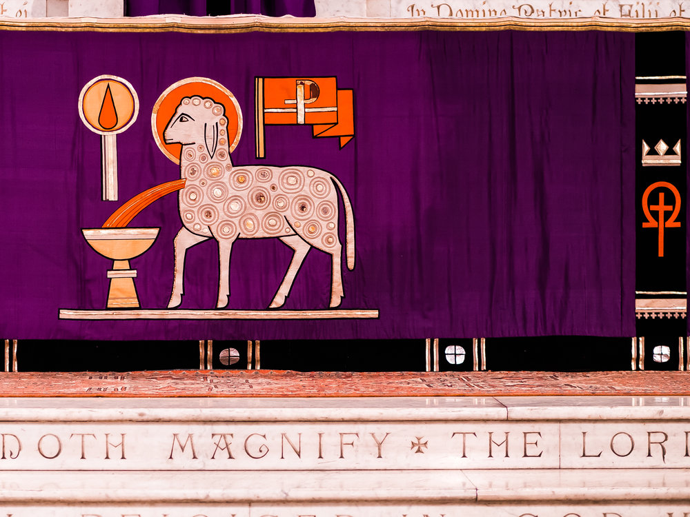 Detail: High Altar frontal for Lent  Photo by Ricardo Gomez