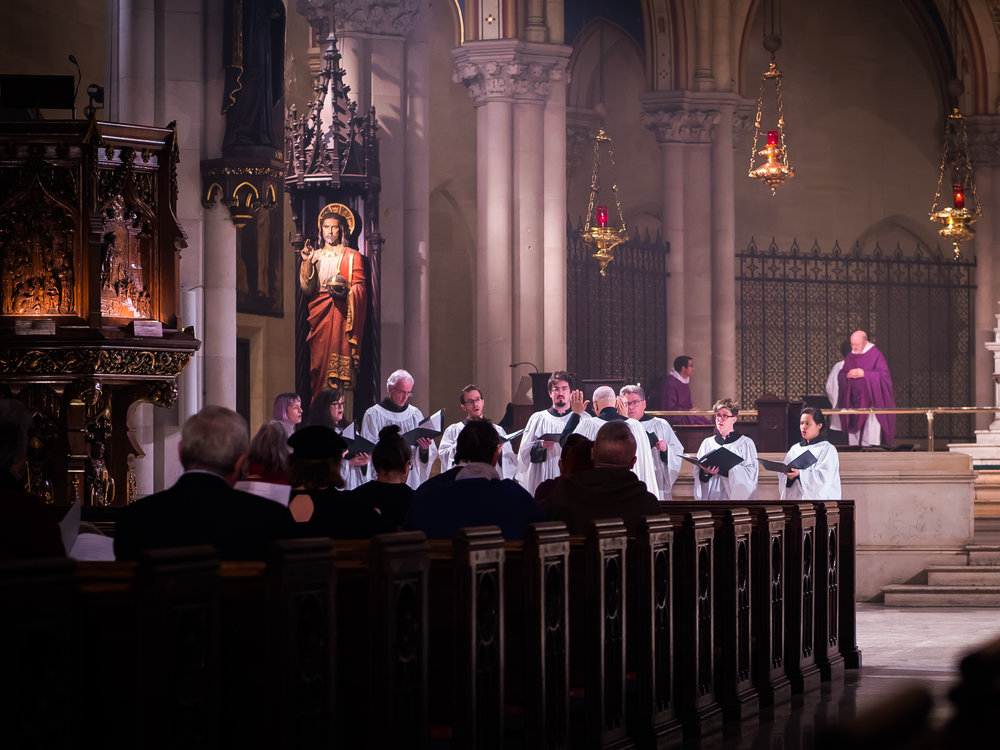 On four Sundays in Lent the Choir sings the Communion motet at the Crossing.  Photo by Ricardo Gomez