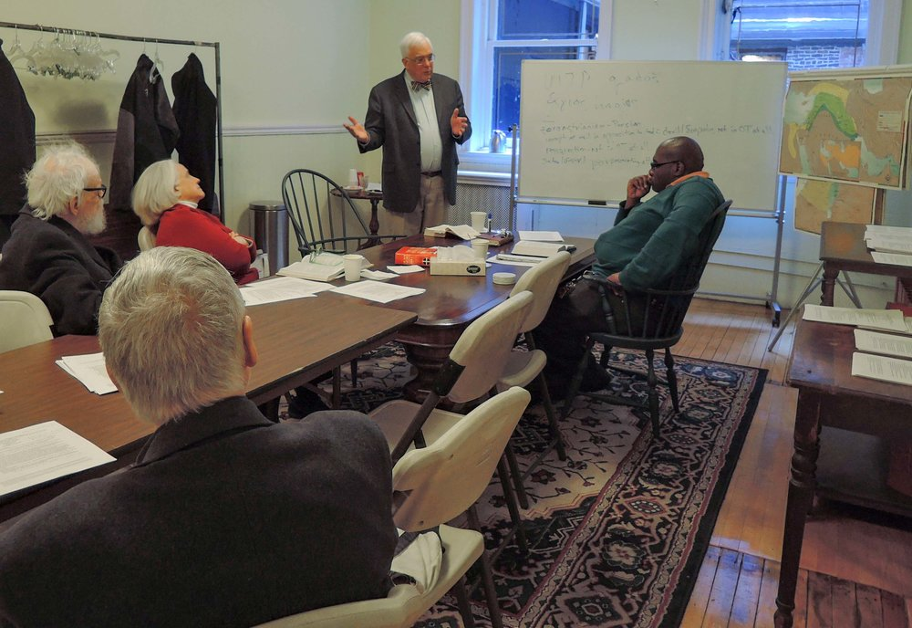 Father Peter Powell leads the class   in a discussion of the Lord's Prayer.  Photo: Sister Monica Clare, C.S.J.B.
