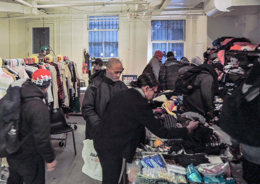 Our Drop-in Day to assist those in need went forward despite the snow.   Photo by Sr. Monica Clare, C.S.J.B.