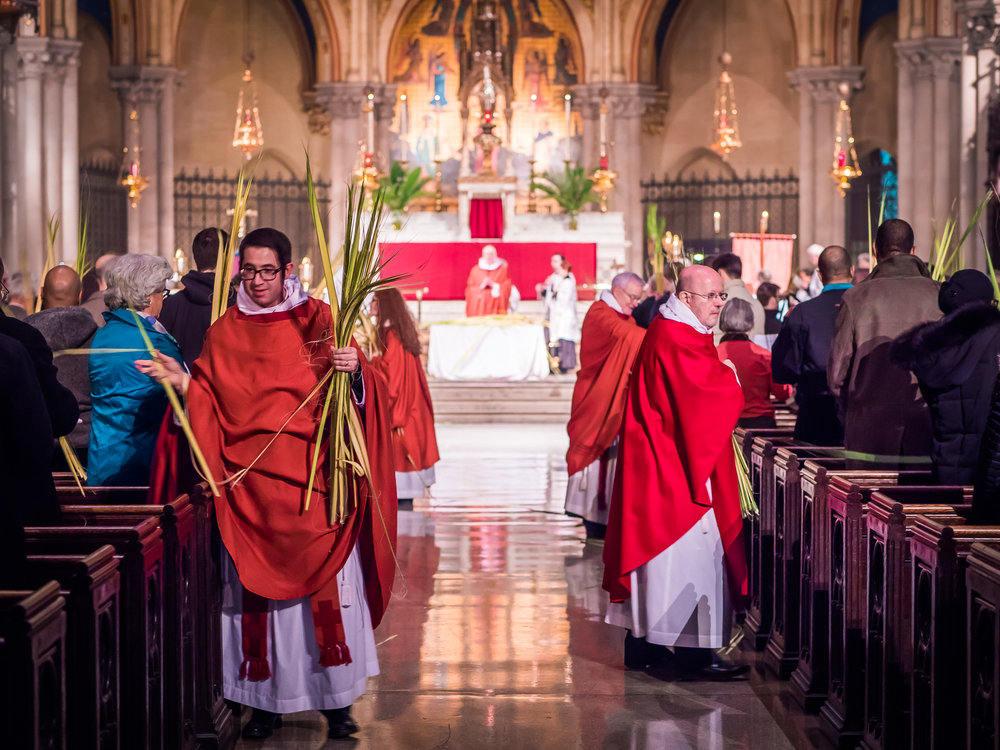 The Liturgy of the Palms begins in the church.  Photo by Ricardo Gomez