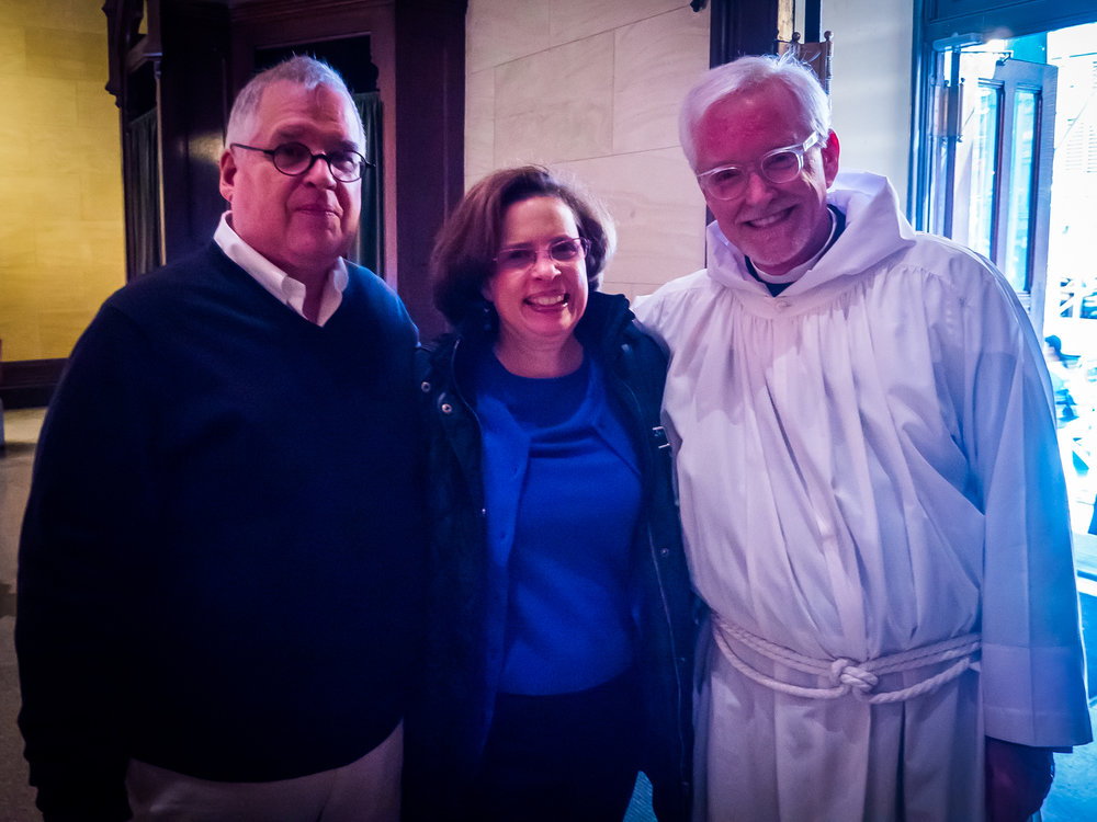 After Mass, Father Park Bodie (L), Suzanne Bodie, and Father Pace   Photo by Ricardo Gomez