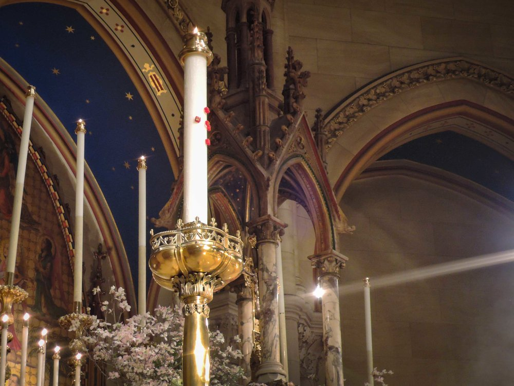 The Paschal Candle has burned whenever the church has been open during the Easter Season.   It is no longer 72 inches in height!   Photo by Sr. Monica Clare, C.S.J.B (Click on any photo to enlarge.)