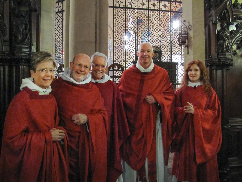 Palm Sunday 2016: Mother Mitties DeChamplain (L),     Father Jay Smith, Father Jim Pace, Father Stephen Gerth, Deacon Rebecca Weiner Tompkins    Photo by Sr. Monica Clare, C.S.J.B.